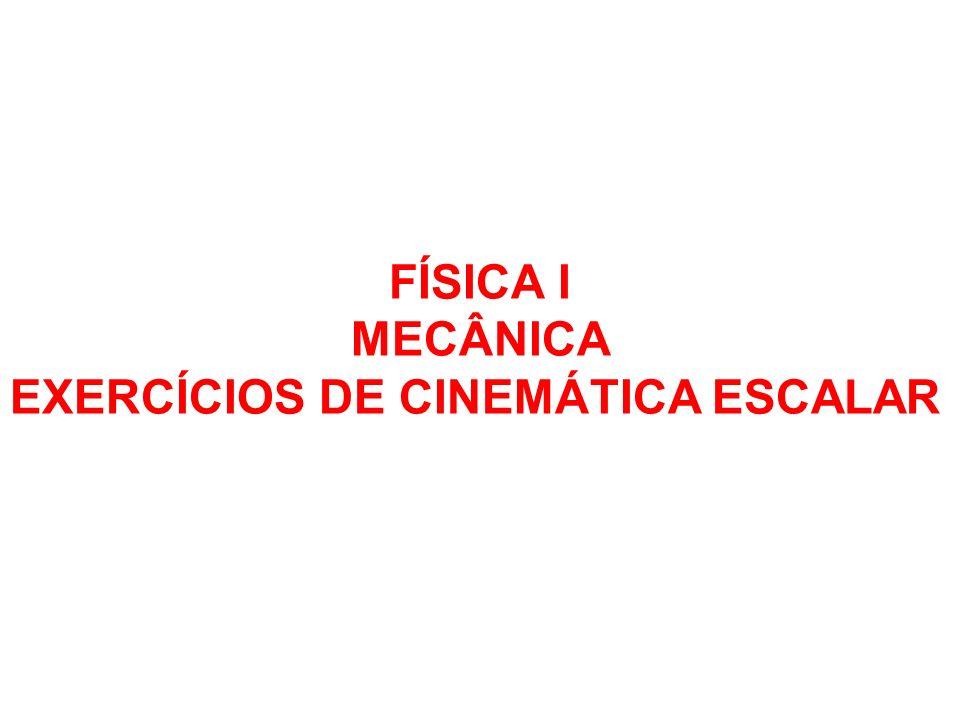 FÍSICA I MECÂNICA EXERCÍCIOS DE CINEMÁTICA ESCALAR