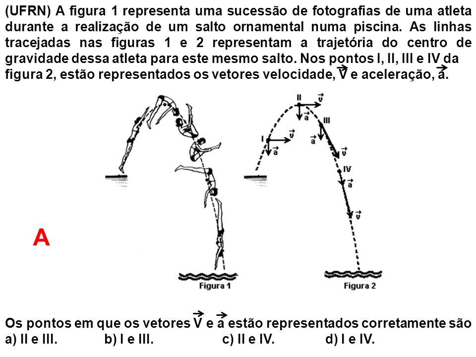 (UFRN) A figura 1 representa uma sucessão de fotografias de uma atleta durante a realização de um salto ornamental numa piscina. As linhas tracejadas