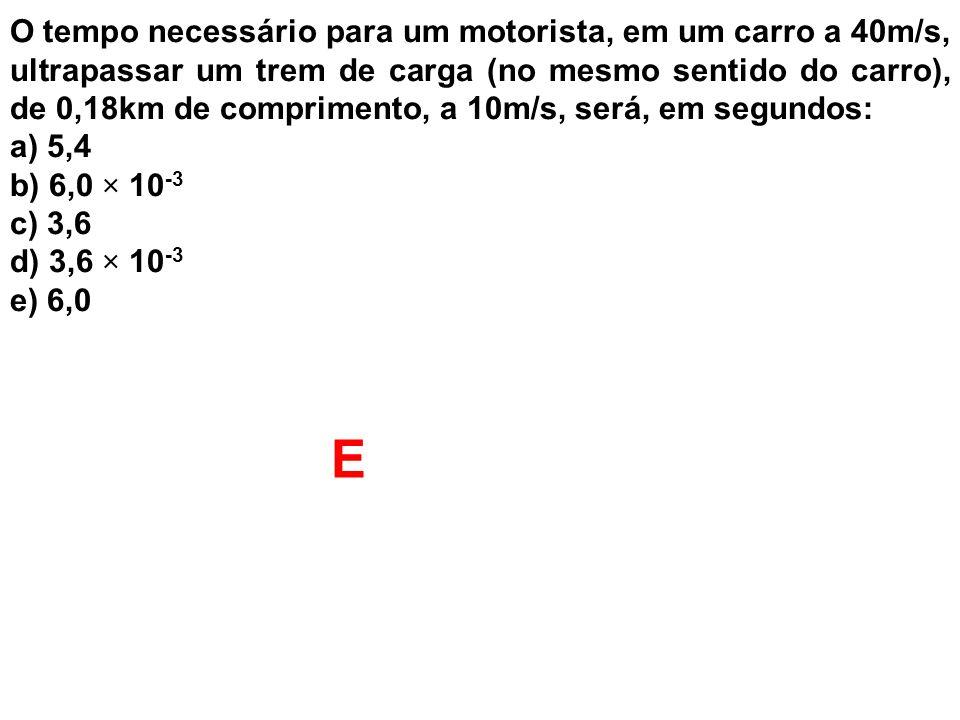 O tempo necessário para um motorista, em um carro a 40m/s, ultrapassar um trem de carga (no mesmo sentido do carro), de 0,18km de comprimento, a 10m/s