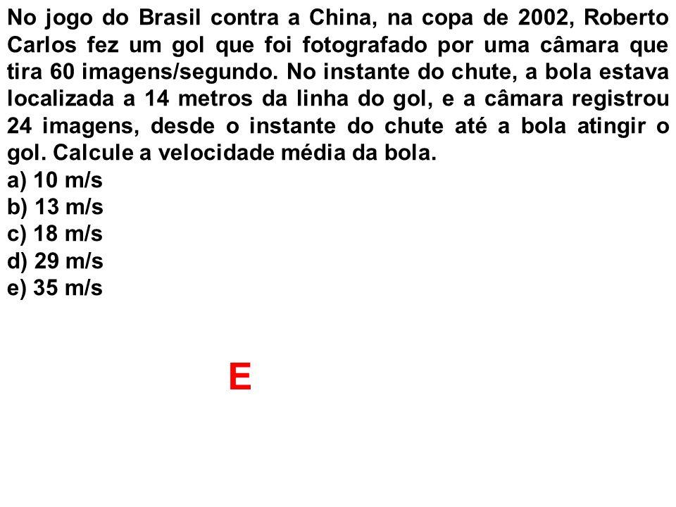 No jogo do Brasil contra a China, na copa de 2002, Roberto Carlos fez um gol que foi fotografado por uma câmara que tira 60 imagens/segundo. No instan