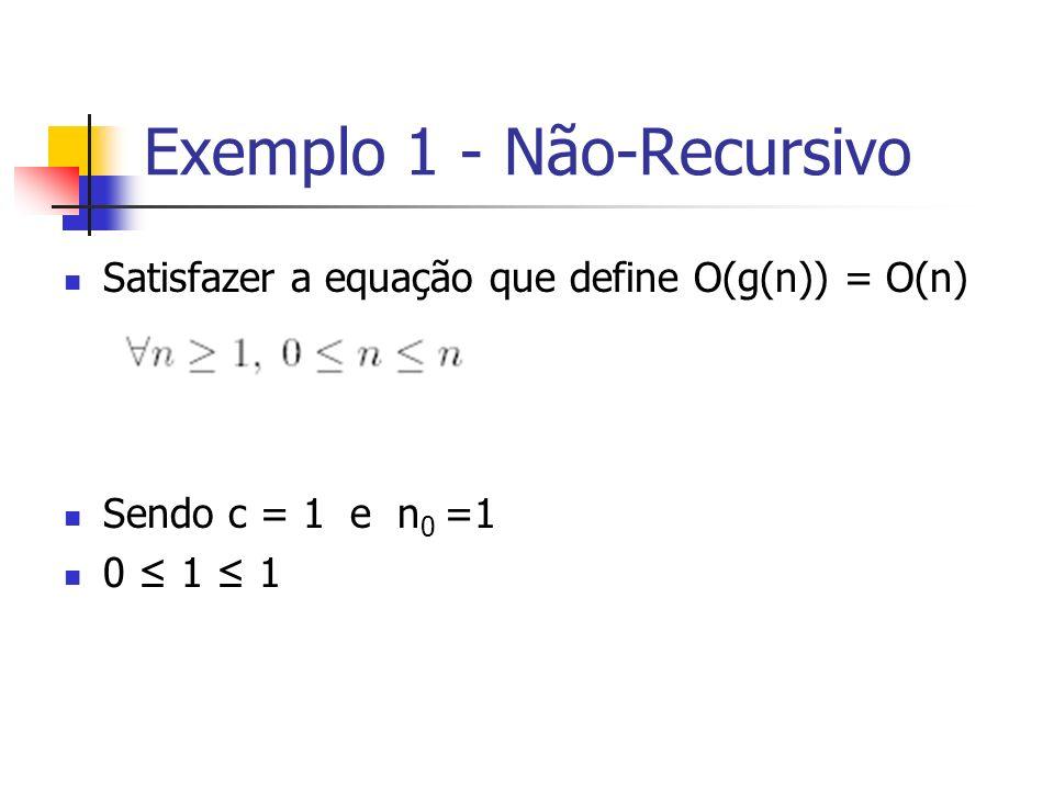 Exemplo 1 - Não-Recursivo Satisfazer a equação que define O(g(n)) = O(n) Sendo c = 1 e n 0 =1 0 1 1