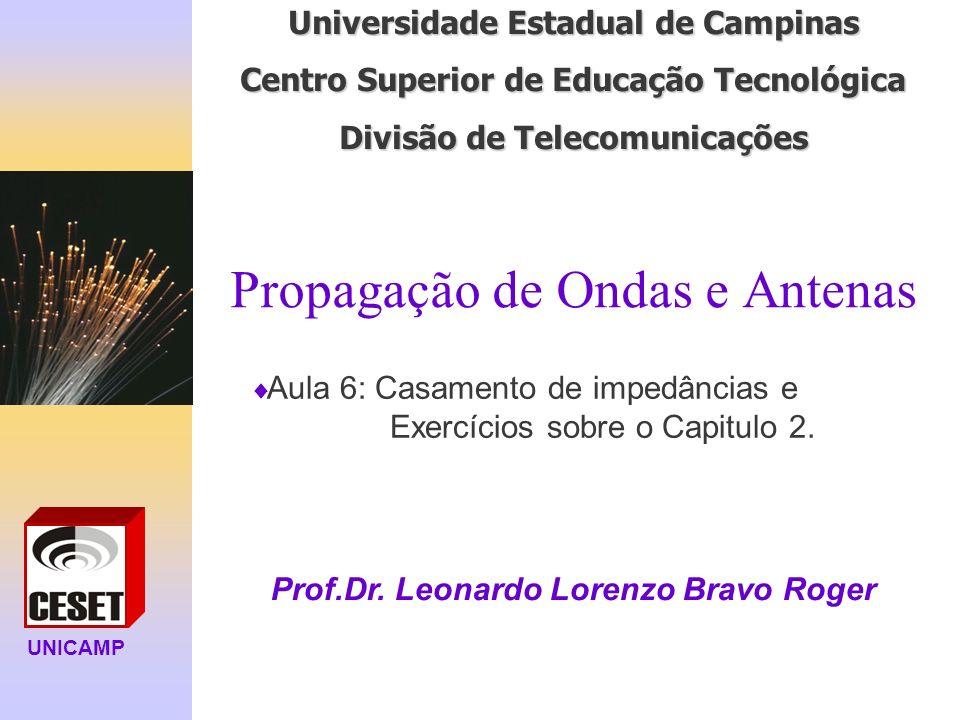 UNICAMP Universidade Estadual de Campinas Centro Superior de Educação Tecnológica Divisão de Telecomunicações Propagação de Ondas e Antenas Prof.Dr.