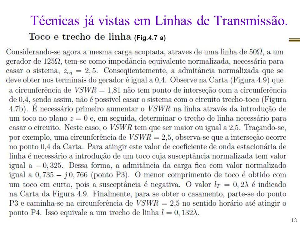 Técnicas já vistas em Linhas de Transmissão. 18