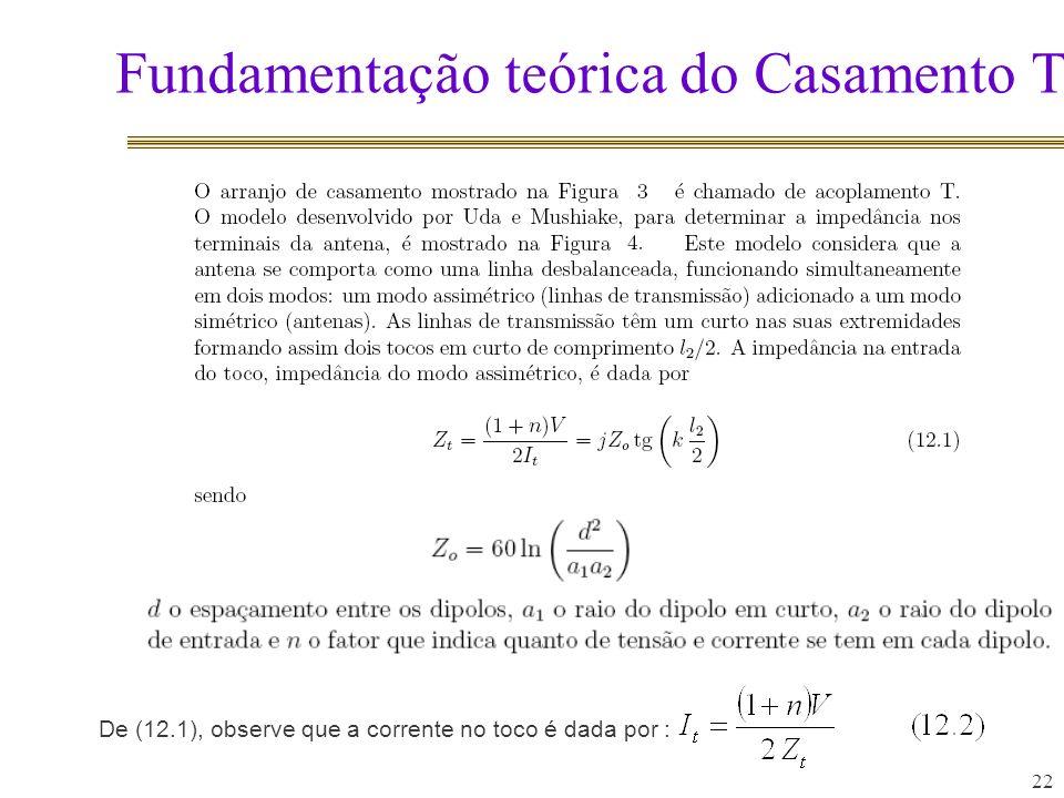 Fundamentação teórica do Casamento T 22 De (12.1), observe que a corrente no toco é dada por :