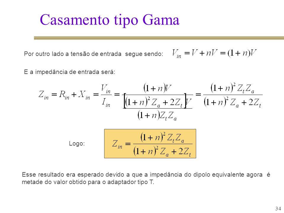 Casamento tipo Gama 34 Esse resultado era esperado devido a que a impedância do dipolo equivalente agora é metade do valor obtido para o adaptador tipo T.