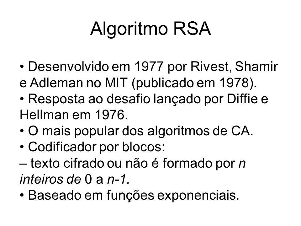 Algoritmo RSA Desenvolvido em 1977 por Rivest, Shamir e Adleman no MIT (publicado em 1978). Resposta ao desafio lançado por Diffie e Hellman em 1976.