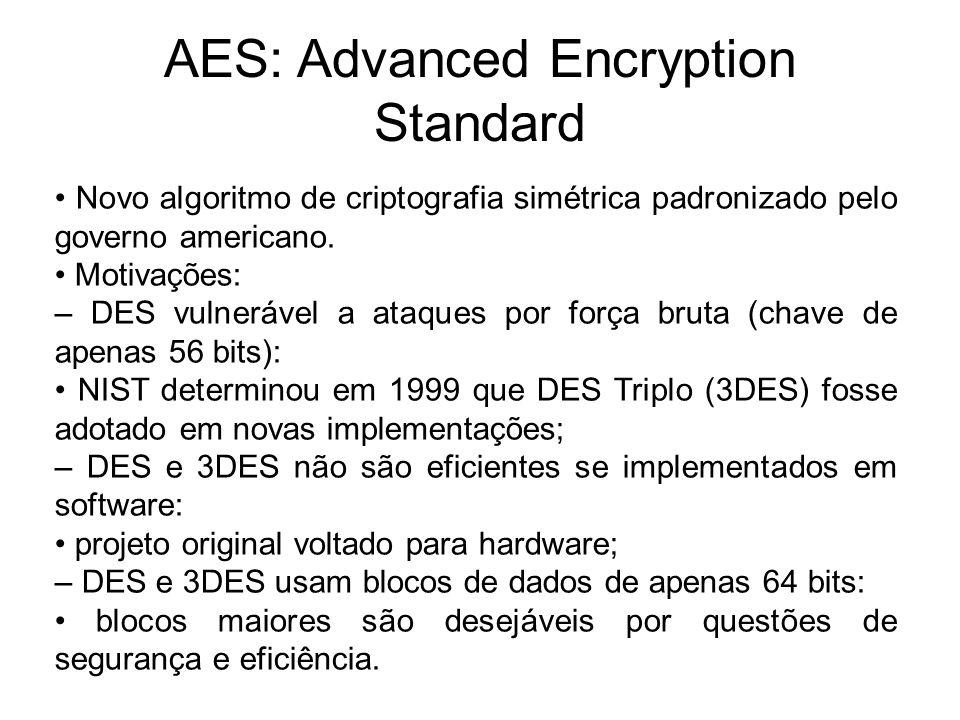 AES: Advanced Encryption Standard Novo algoritmo de criptografia simétrica padronizado pelo governo americano. Motivações: – DES vulnerável a ataques