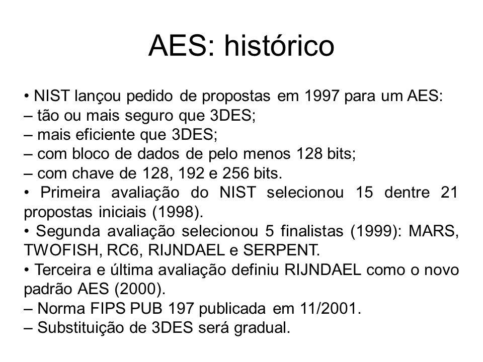 AES: histórico NIST lançou pedido de propostas em 1997 para um AES: – tão ou mais seguro que 3DES; – mais eficiente que 3DES; – com bloco de dados de