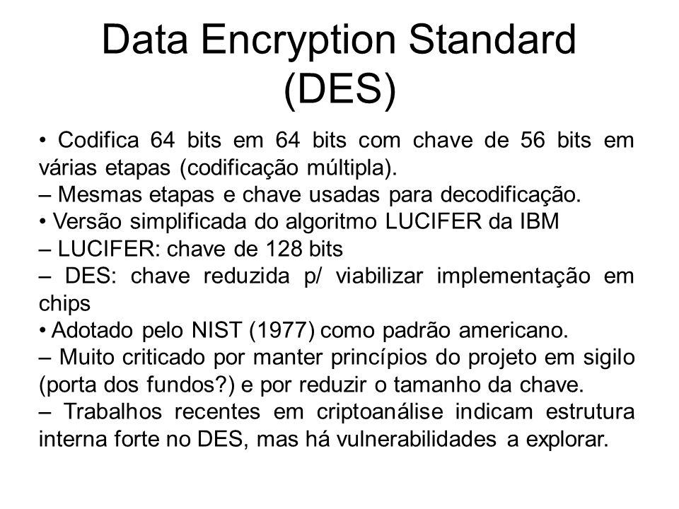 Data Encryption Standard (DES) Codifica 64 bits em 64 bits com chave de 56 bits em várias etapas (codificação múltipla). – Mesmas etapas e chave usada