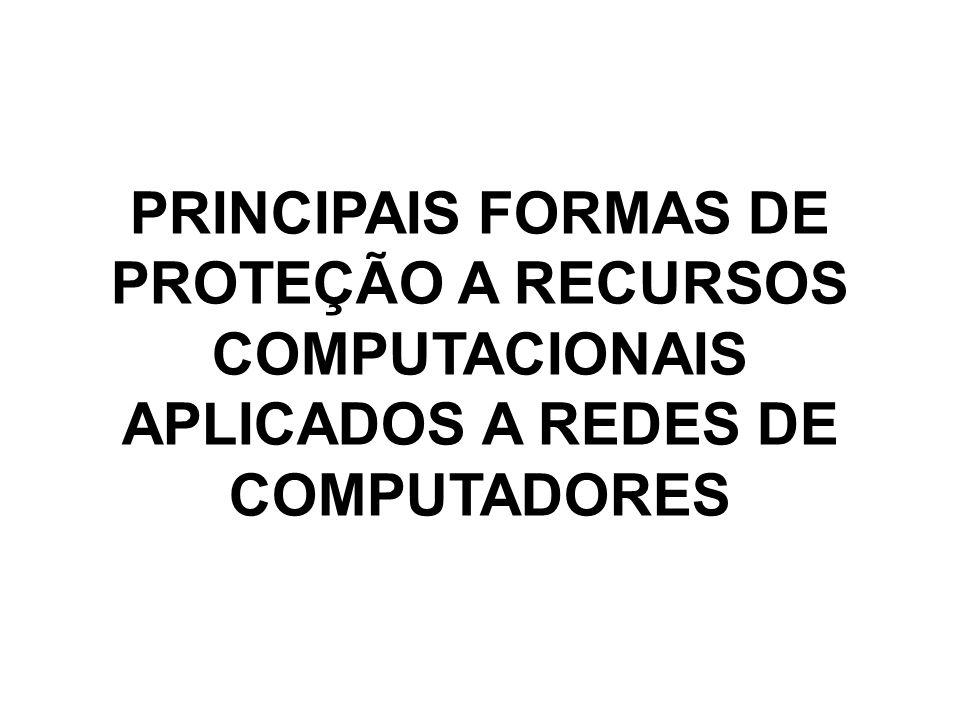 PRINCIPAIS FORMAS DE PROTEÇÃO A RECURSOS COMPUTACIONAIS APLICADOS A REDES DE COMPUTADORES