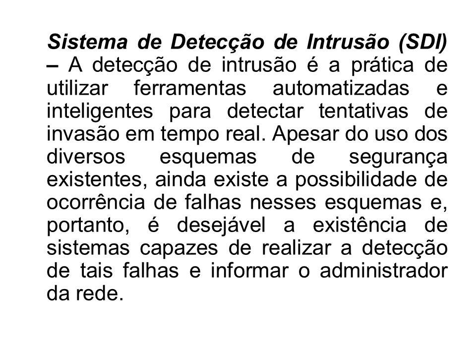 Sistema de Detecção de Intrusão (SDI) – A detecção de intrusão é a prática de utilizar ferramentas automatizadas e inteligentes para detectar tentativ