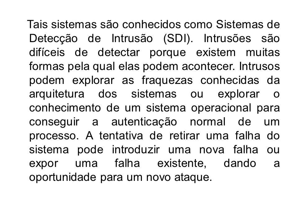 Tais sistemas são conhecidos como Sistemas de Detecção de Intrusão (SDI). Intrusões são difíceis de detectar porque existem muitas formas pela qual el