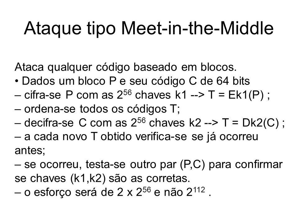 Ataque tipo Meet-in-the-Middle Ataca qualquer código baseado em blocos. Dados um bloco P e seu código C de 64 bits – cifra-se P com as 2 56 chaves k1