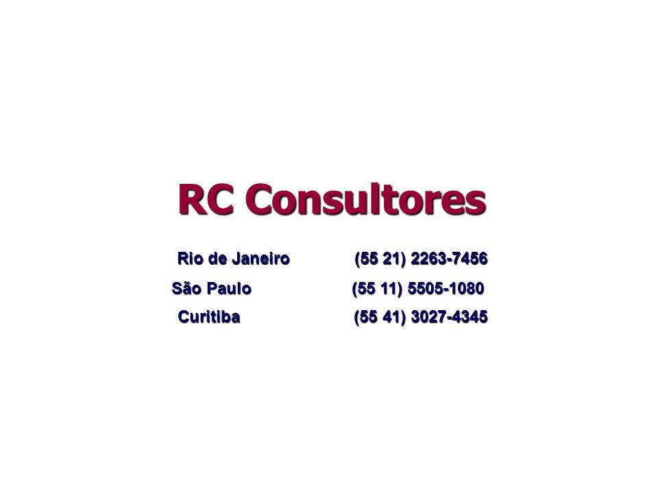 RC Consultores Rio de Janeiro (55 21) 2263-7456 São Paulo (55 11) 5505-1080 RC Consultores Curitiba (55 41) 3027-4345