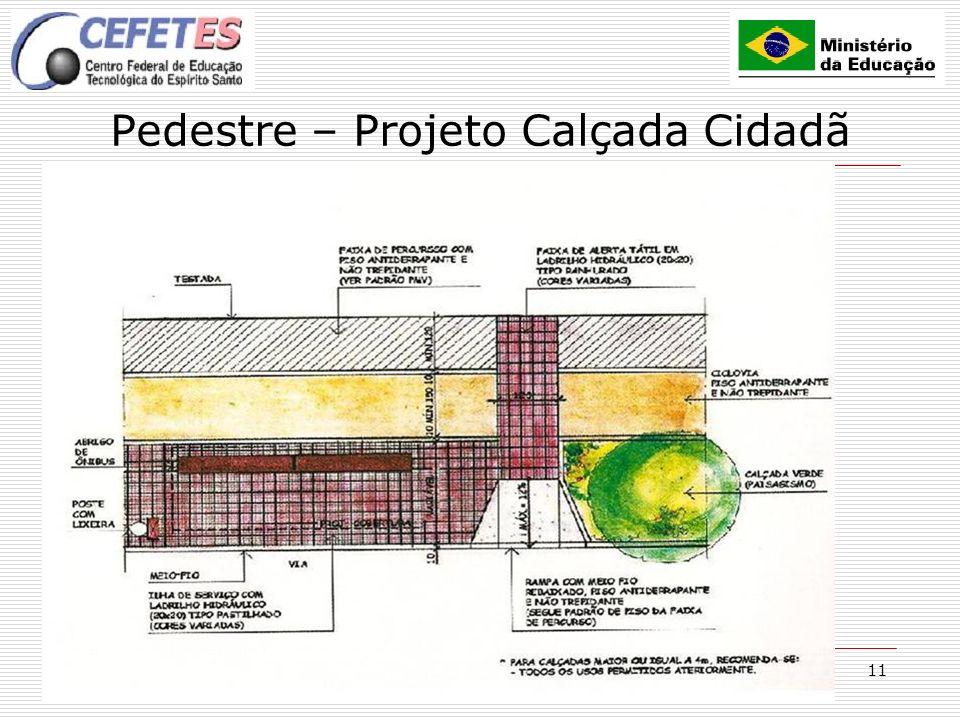 11 Pedestre – Projeto Calçada Cidadã CALÇADA IDEAL Bem conservada; Inclinação transversal máx 2%; Superfície regular; Iluminada; Piso antiderrapante;