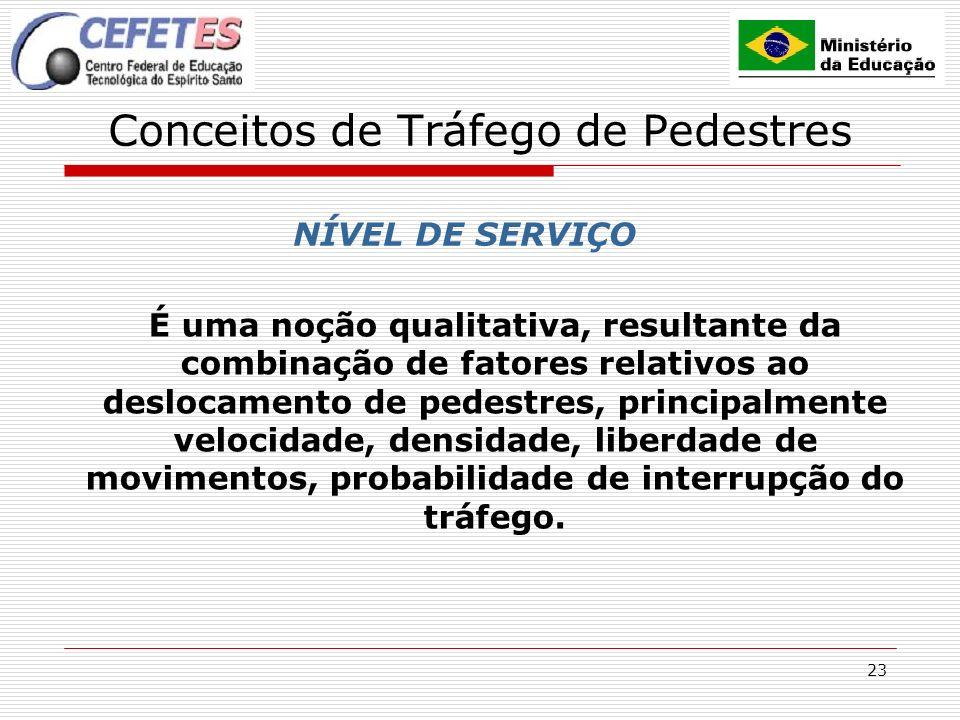 23 Conceitos de Tráfego de Pedestres NÍVEL DE SERVIÇO É uma noção qualitativa, resultante da combinação de fatores relativos ao deslocamento de pedest