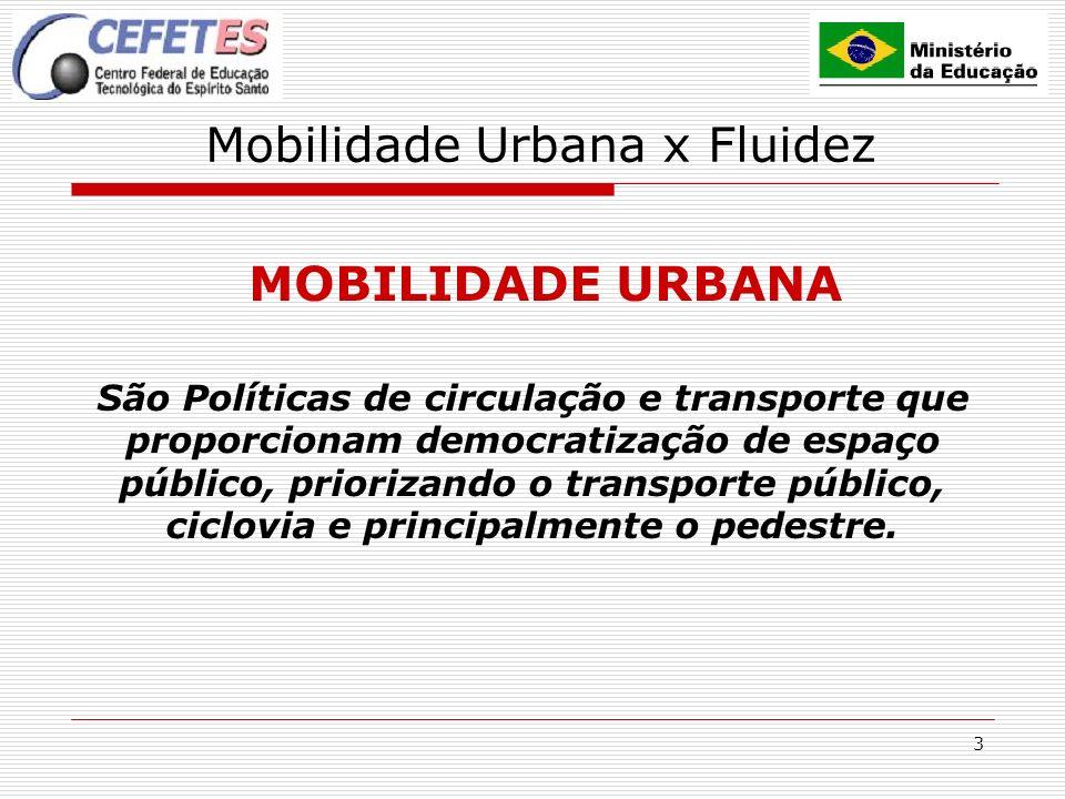 3 Mobilidade Urbana x Fluidez MOBILIDADE URBANA São Políticas de circulação e transporte que proporcionam democratização de espaço público, priorizand