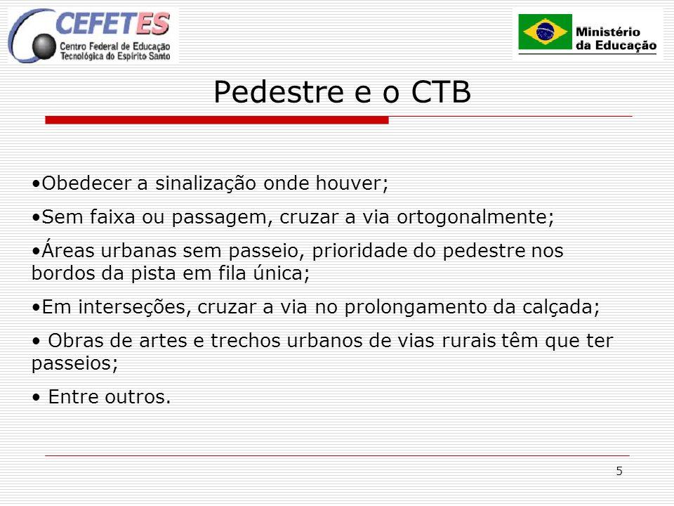 5 Pedestre e o CTB Obedecer a sinalização onde houver; Sem faixa ou passagem, cruzar a via ortogonalmente; Áreas urbanas sem passeio, prioridade do pe
