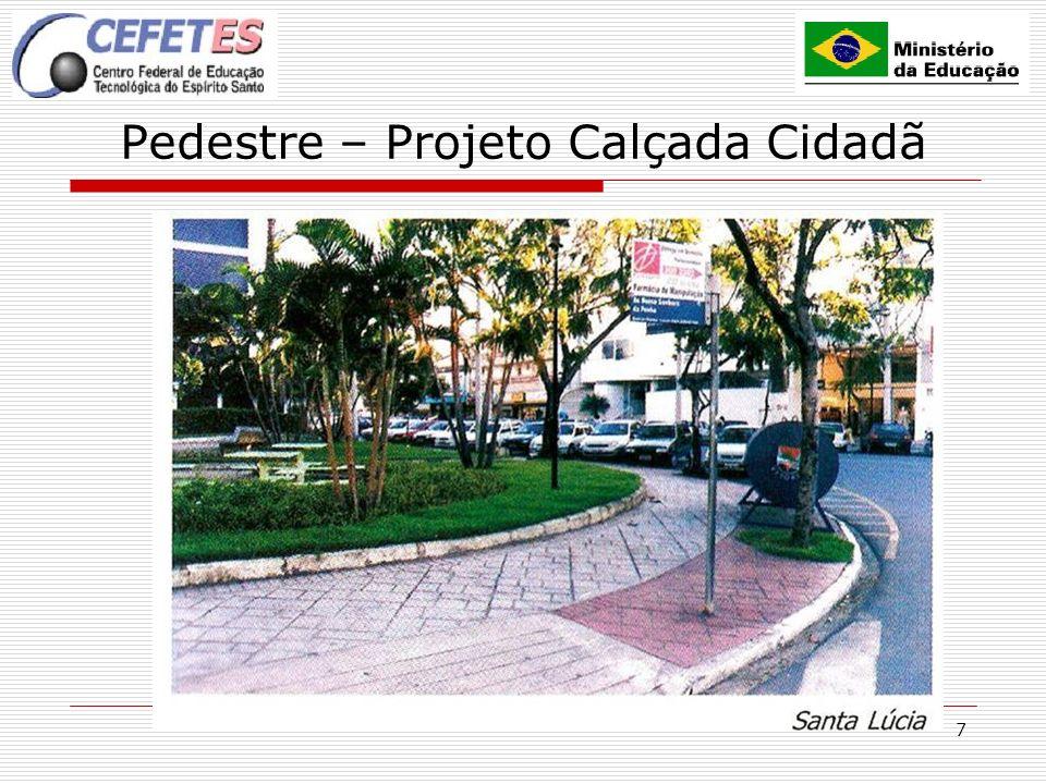 7 Pedestre – Projeto Calçada Cidadã OBJETIVO Conscientizar e sensibilizar a população sobre a importância de construir, recuperar e manter as calçadas