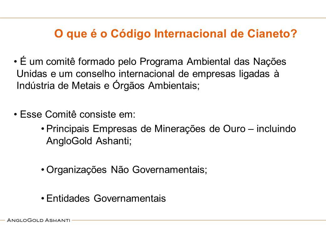 O que é o Código Internacional de Cianeto? É um comitê formado pelo Programa Ambiental das Nações Unidas e um conselho internacional de empresas ligad