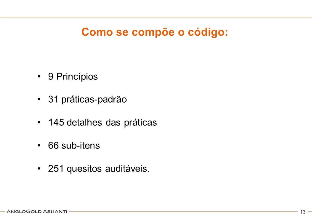 13 9 Princípios 31 práticas-padrão 145 detalhes das práticas 66 sub-itens 251 quesitos auditáveis. Como se compõe o código: