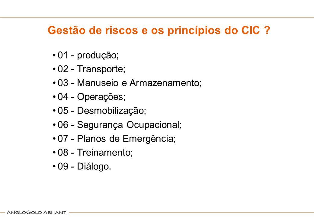 Gestão de riscos e os princípios do CIC ? 01 - produção; 02 - Transporte; 03 - Manuseio e Armazenamento; 04 - Operações; 05 - Desmobilização; 06 - Seg