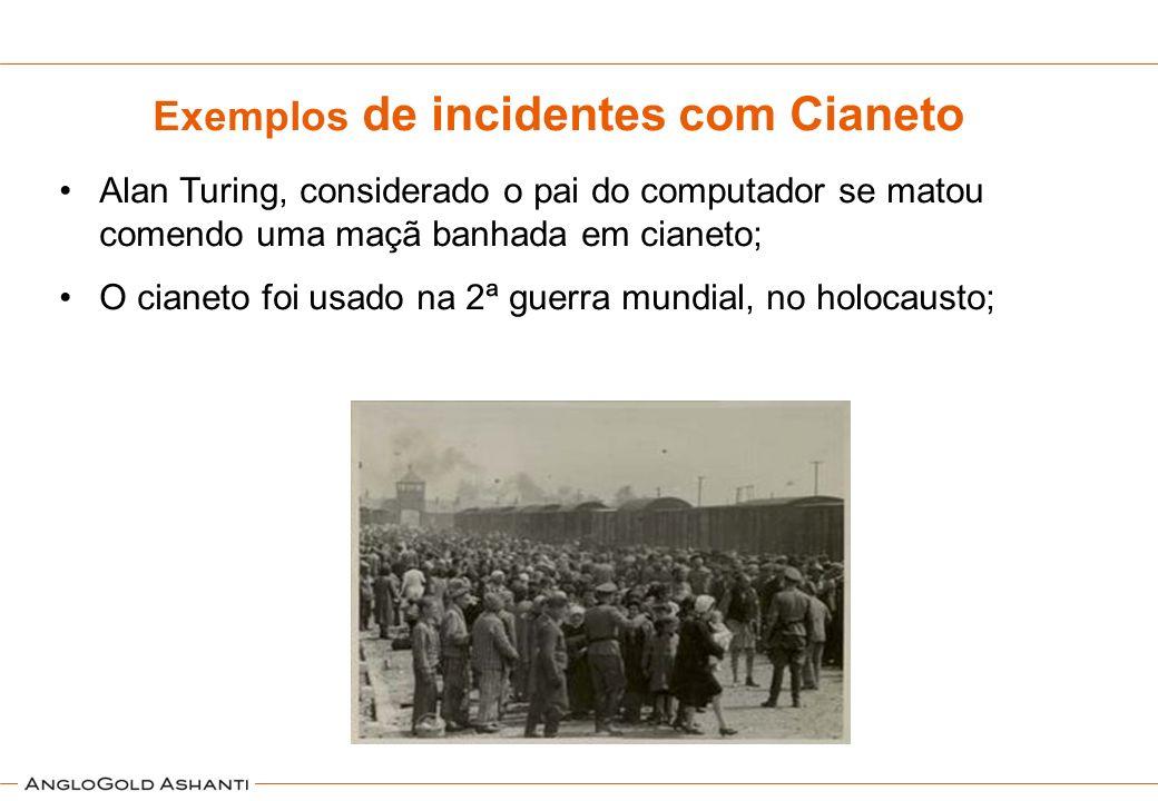 Exemplos de incidentes com Cianeto Alan Turing, considerado o pai do computador se matou comendo uma maçã banhada em cianeto; O cianeto foi usado na 2