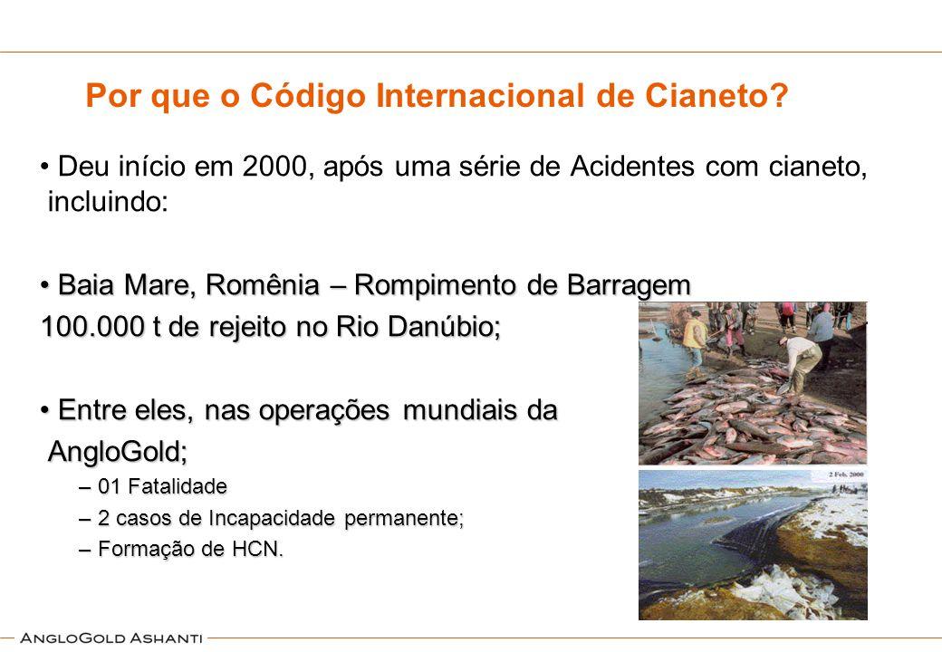 Por que o Código Internacional de Cianeto? Deu início em 2000, após uma série de Acidentes com cianeto, incluindo: Baia Mare, Romênia – Rompimento de