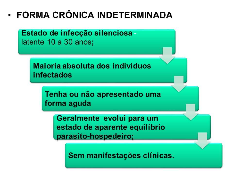 FORMA CRÔNICA INDETERMINADA Estado de infecção silenciosa - latente 10 a 30 anos; Maioria absoluta dos indivíduos infectados Tenha ou não apresentado