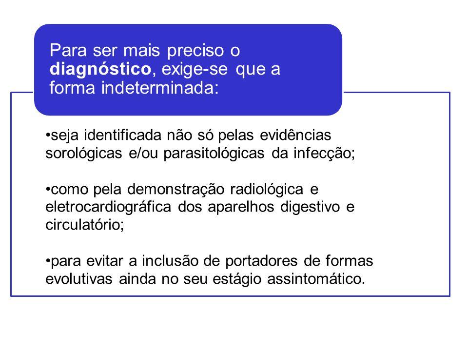 seja identificada não só pelas evidências sorológicas e/ou parasitológicas da infecção; como pela demonstração radiológica e eletrocardiográfica dos a