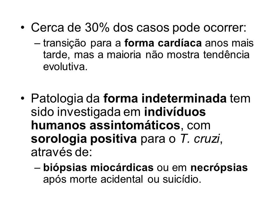 Cerca de 30% dos casos pode ocorrer: –transição para a forma cardíaca anos mais tarde, mas a maioria não mostra tendência evolutiva. Patologia da form