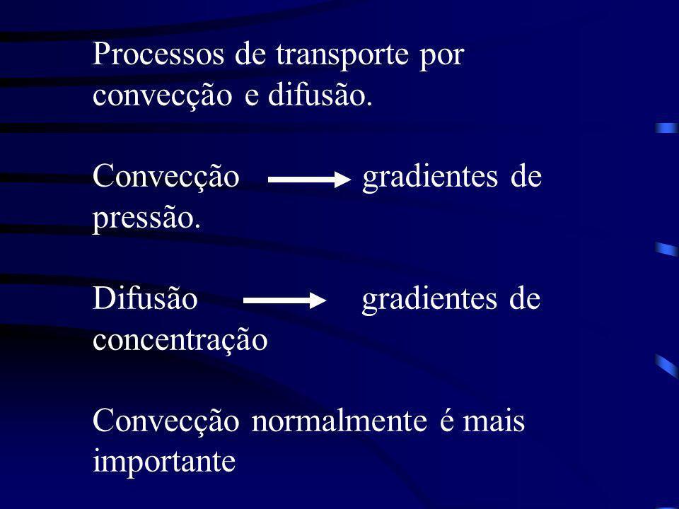 Processos de transporte por convecção e difusão. Convecção gradientes de pressão. Difusão gradientes de concentração Convecção normalmente é mais impo