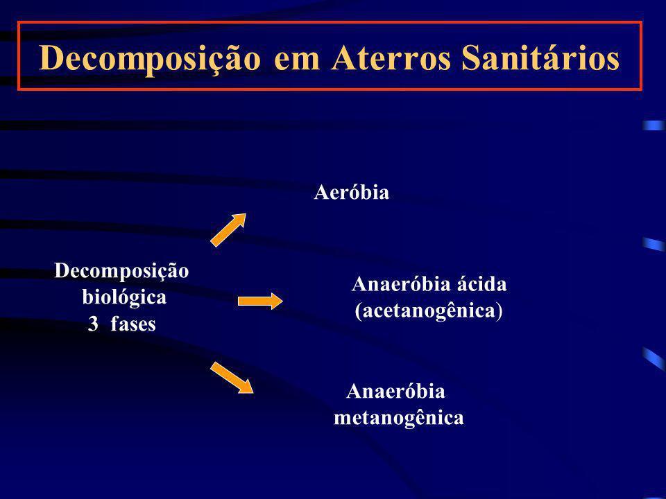 Decomposição em Aterros Sanitários Decomposição biológica 3 fases Aeróbia Anaeróbia ácida (acetanogênica) Anaeróbia metanogênica