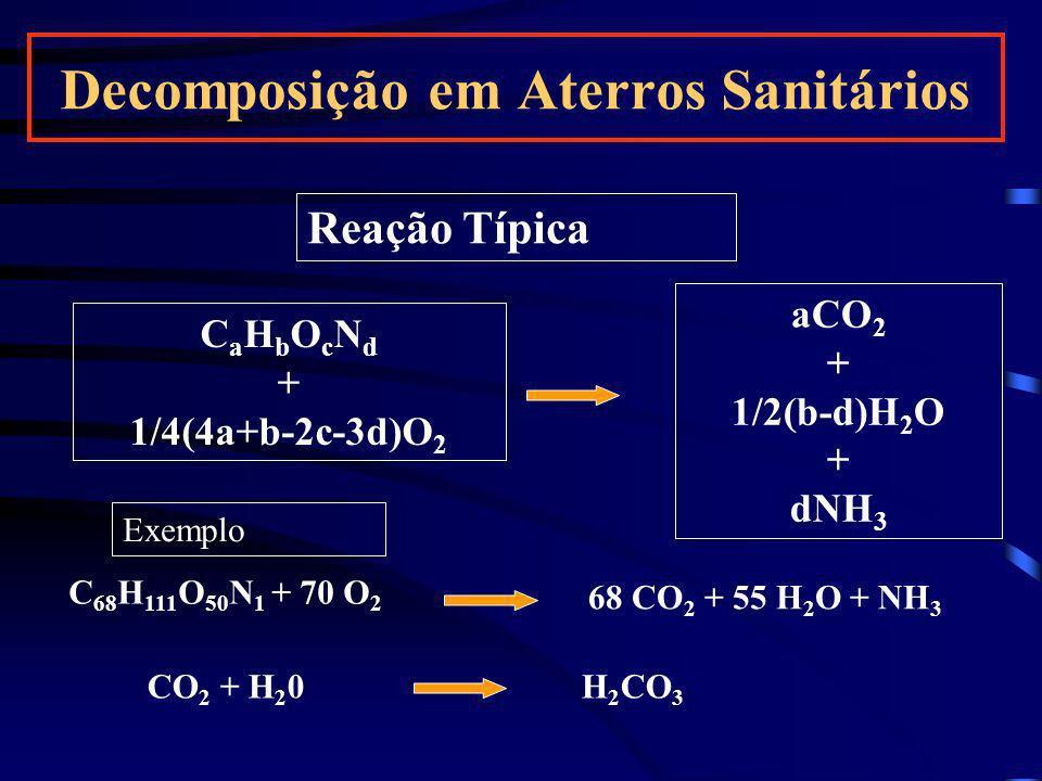 Reação Típica C a H b O c N d + 1/4(4a+b-2c-3d)O 2 aCO 2 + 1/2(b-d)H 2 O + dNH 3 C 68 H 111 O 50 N 1 + 70 O 2 CO 2 + H 2 0 H 2 CO 3 68 CO 2 + 55 H 2 O