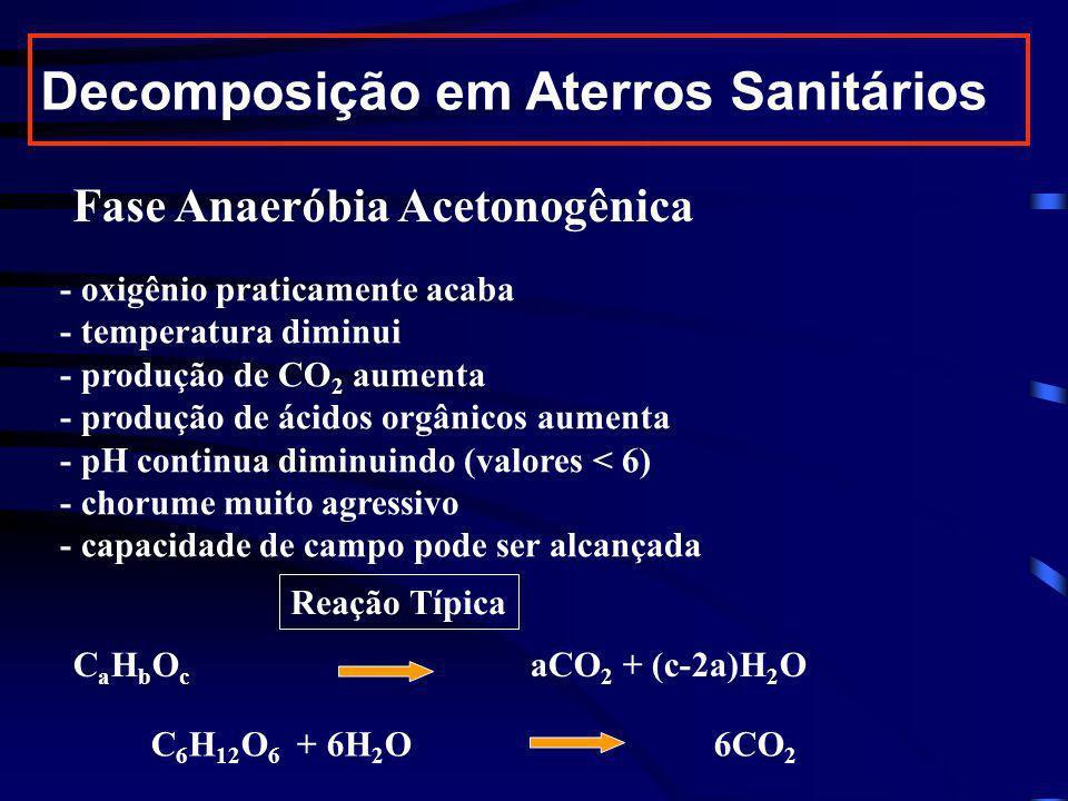 Fase Anaeróbia Metanogênica (mais longa) - sem oxigênio - temperatura pouco alterada (30 a 40 o C) - consumo de ácidos orgânicos aumenta - pH entre 6 e 8 - chorume menos agressivo - produção de CO 2 diminui - aumenta produção de CH 4 (metano) Decomposição em Aterros Sanitários