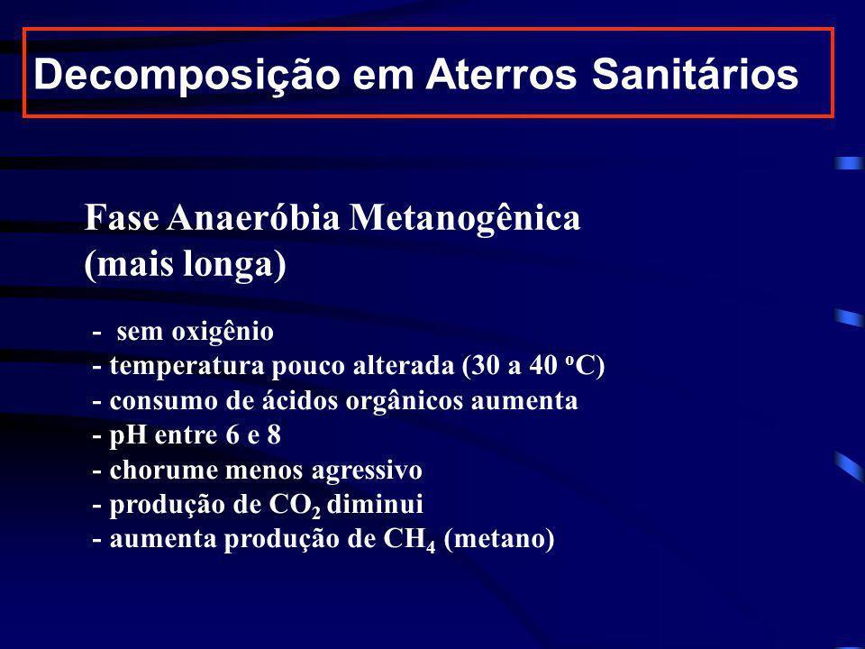 Fase Anaeróbia Metanogênica (mais longa) - sem oxigênio - temperatura pouco alterada (30 a 40 o C) - consumo de ácidos orgânicos aumenta - pH entre 6