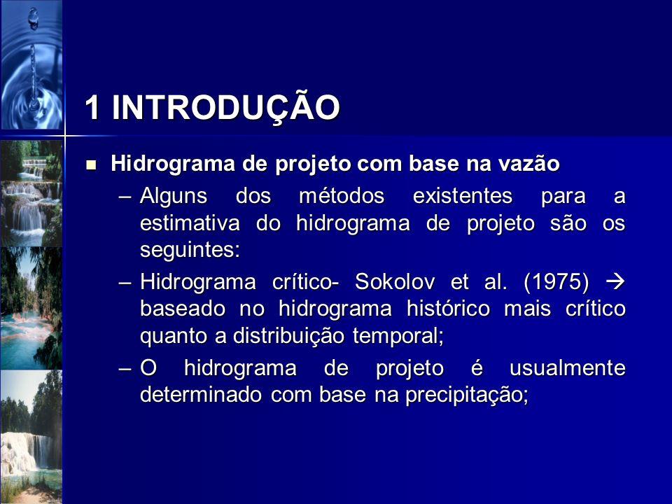 Hidrograma de projeto com base precipitação Hidrograma de projeto com base precipitação –O hidrograma de projeto é usualmente determinado com base na precipitação; –O hidrograma pode ser associado ao seguinte: precipitação máxima provável, para provável, para projeto de importantes obras hidráulicas; precipitação máxima provável, para provável, para projeto de importantes obras hidráulicas; precipitação associadas ao risco ou probabilidade de ocorrência.