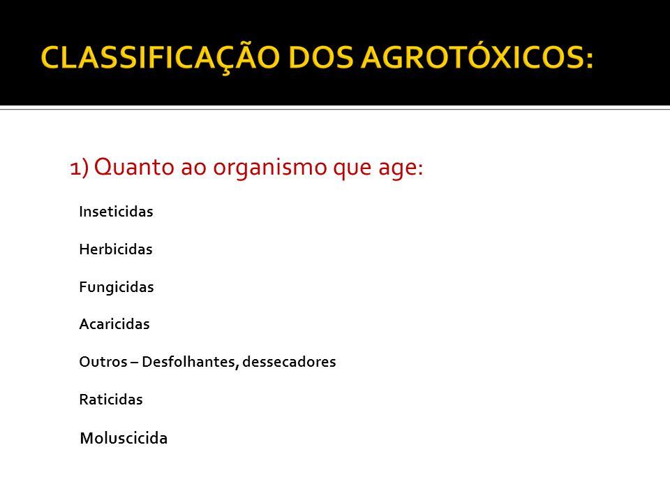 1) Quanto ao organismo que age: Inseticidas Herbicidas Fungicidas Acaricidas Outros – Desfolhantes, dessecadores Raticidas Moluscicida