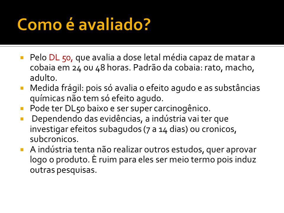 Pelo DL 50, que avalia a dose letal média capaz de matar a cobaia em 24 ou 48 horas. Padrão da cobaia: rato, macho, adulto. Medida frágil: pois só ava