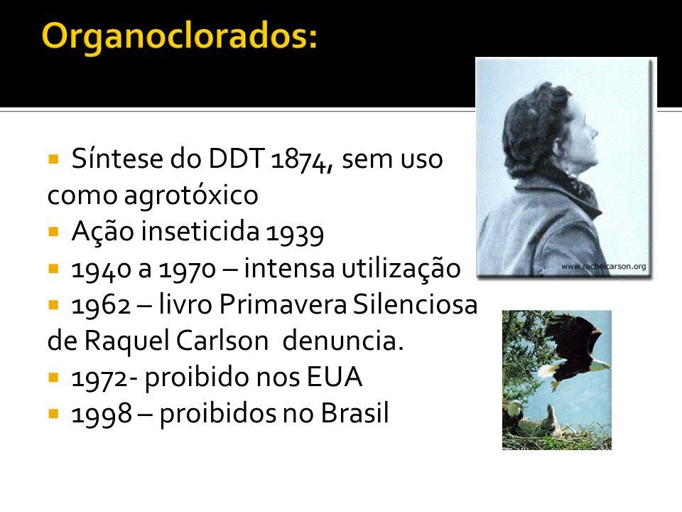 Síntese do DDT 1874, sem uso como agrotóxico Ação inseticida 1939 1940 a 1970 – intensa utilização 1962 – livro Primavera Silenciosa de Raquel Carlson