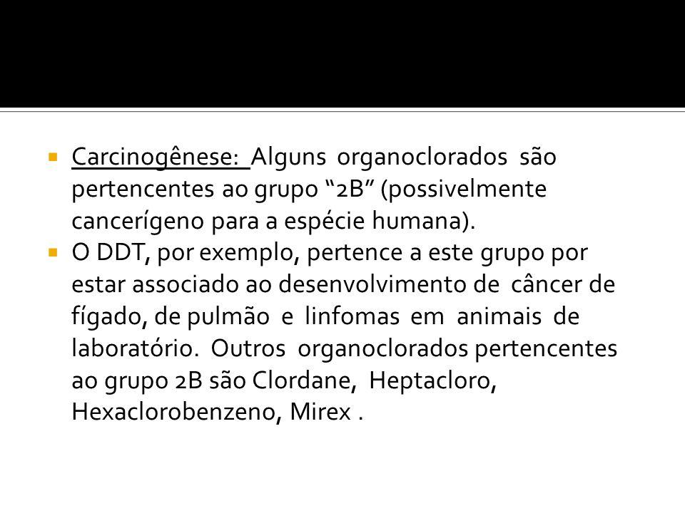 Carcinogênese: Alguns organoclorados são pertencentes ao grupo 2B (possivelmente cancerígeno para a espécie humana). O DDT, por exemplo, pertence a es