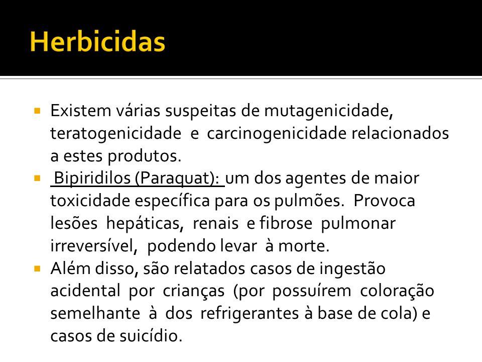 Existem várias suspeitas de mutagenicidade, teratogenicidade e carcinogenicidade relacionados a estes produtos. Bipiridilos (Paraquat): um dos agentes