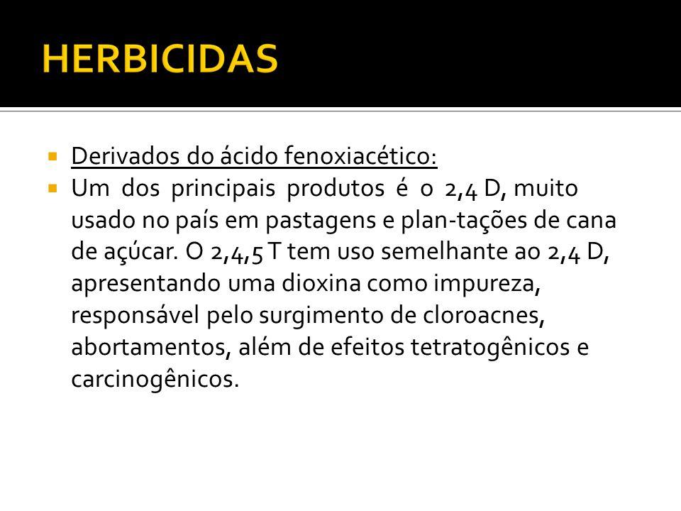 Derivados do ácido fenoxiacético: Um dos principais produtos é o 2,4 D, muito usado no país em pastagens e plan-tações de cana de açúcar. O 2,4,5 T te
