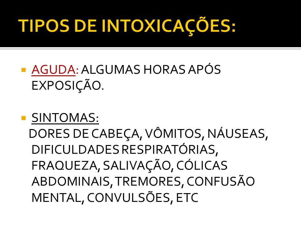 AGUDA: ALGUMAS HORAS APÓS EXPOSIÇÃO. SINTOMAS: DORES DE CABEÇA, VÔMITOS, NÁUSEAS, DIFICULDADES RESPIRATÓRIAS, FRAQUEZA, SALIVAÇÃO, CÓLICAS ABDOMINAIS,