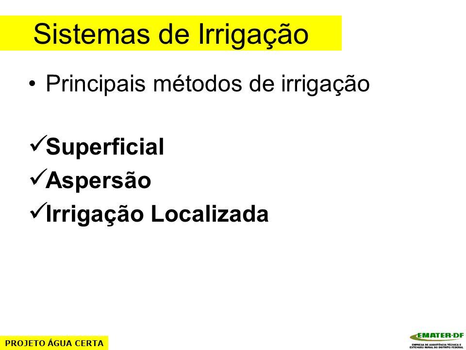 Sistemas de Irrigação Principais métodos de irrigação Superficial Aspersão Irrigação Localizada PROJETO ÁGUA CERTA