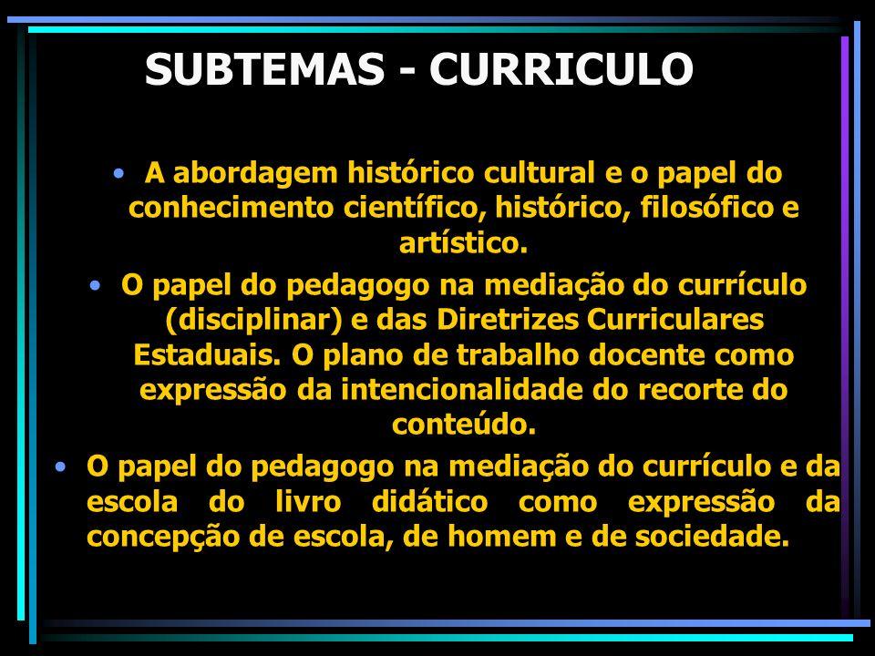 SUBTEMAS - CURRICULO A abordagem histórico cultural e o papel do conhecimento científico, histórico, filosófico e artístico. O papel do pedagogo na me