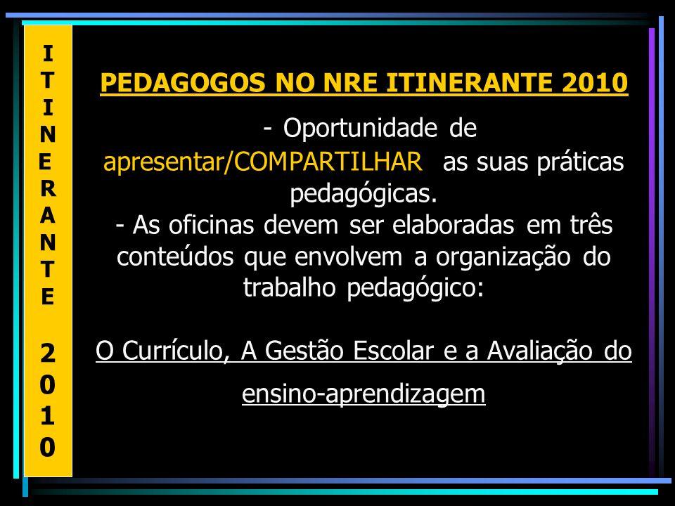 PEDAGOGOS NO NRE ITINERANTE 2010 - Oportunidade de apresentar/COMPARTILHAR as suas práticas pedagógicas. - As oficinas devem ser elaboradas em três co