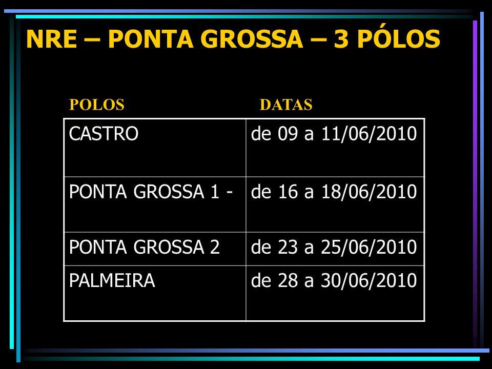 NRE – PONTA GROSSA – 3 PÓLOS CASTROde 09 a 11/06/2010 PONTA GROSSA 1 -de 16 a 18/06/2010 PONTA GROSSA 2de 23 a 25/06/2010 PALMEIRAde 28 a 30/06/2010 P
