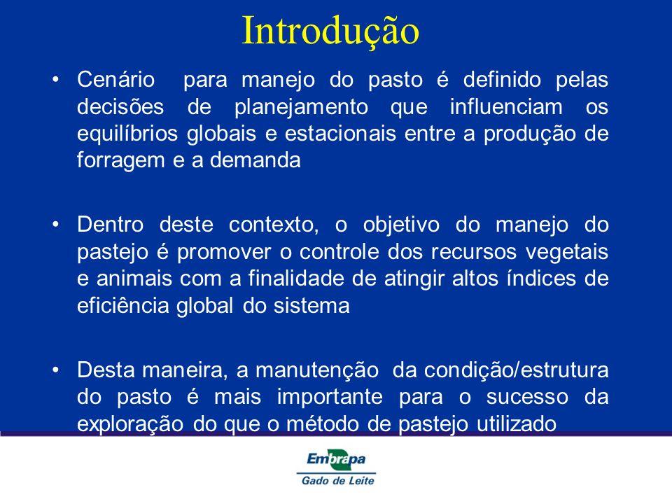 Introdução Cenário para manejo do pasto é definido pelas decisões de planejamento que influenciam os equilíbrios globais e estacionais entre a produçã
