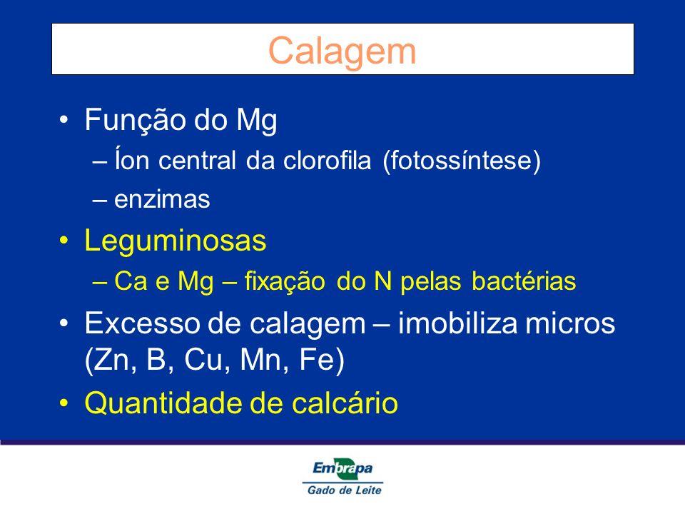 Calagem Função do Mg –Íon central da clorofila (fotossíntese) –enzimas Leguminosas –Ca e Mg – fixação do N pelas bactérias Excesso de calagem – imobil